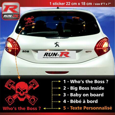 Sticker personnalisable compatible avec vitre arriere de Peugeot 207 207 208 couleur rouge