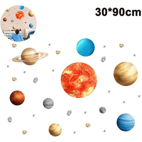 Sticker planète spatiale muraux, système solaire amovible aquarelle espace vinyle Stickers muraux pour enfants pépinière chambre salon