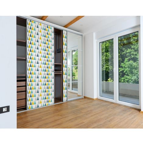 Sticker pour porte de dressing Home - L. 67 x l. 250 cm - Blanc multicolore - Blanc