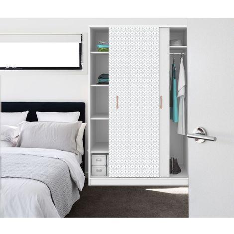 Sticker pour porte de dressing scandi Home - L. 67 x l. 250 cm - Blanc - Blanc