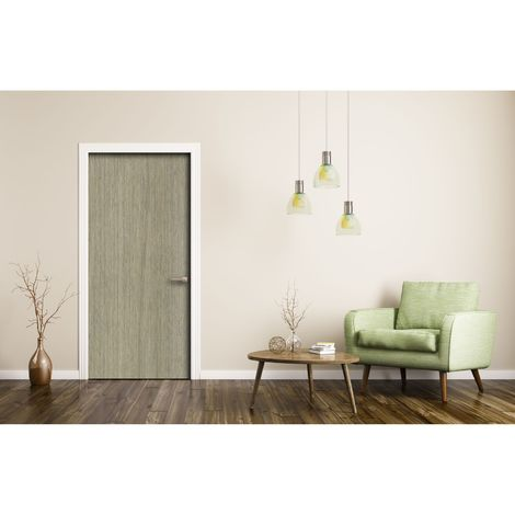Sticker pour porte d'intérieur imitation Bois - L. 83 x l. 204 cm - Chêne clair - Marron