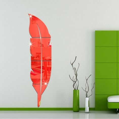 Sticker rouge DIY Plume Style Acrylique Miroir Stickers Muraux Home Room Mural Décoration Art Wall Sticker, Taille: 18 * 73cm