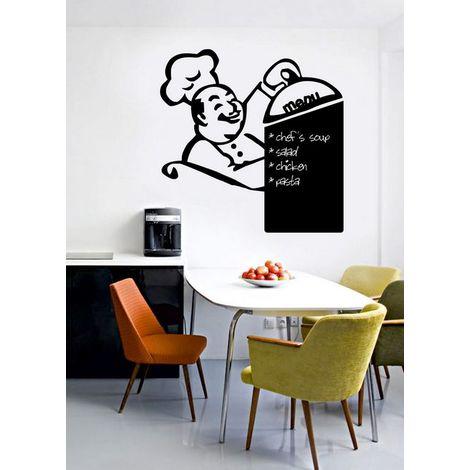 Sticker Tafel - von Mauer, Mauer - Chefkoch-Menue - fuer Wohnzimmer, Kueche - Schwarz aus Vinyl, 38 x 0,1 x 38 cm