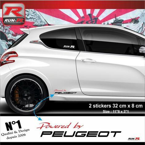 Stickers 00ACRN Powered by pour Peugeot 32x8cm - Rouge Noir Run-R Stickers