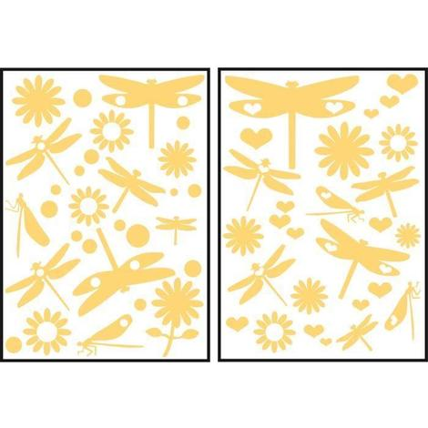 Stickers adhesif mural Taille S - Libellules jaunes 2 planches 29.7 x 21 cm. divers motifs