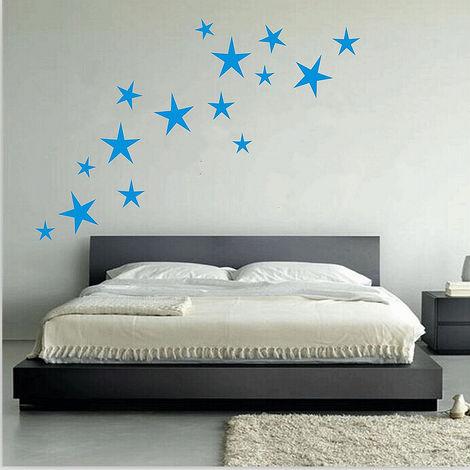 Stickers Amovible 15Pcs étoiles Mural Enfant Maison Chambre Déco DIYBleu Foncé