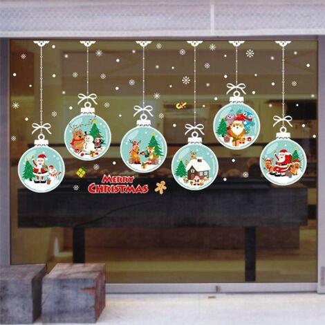 Stickers autocollants de Noël, décorations de Noël portes en verre auto-adhésives, autocollants de fenêtre amovibles