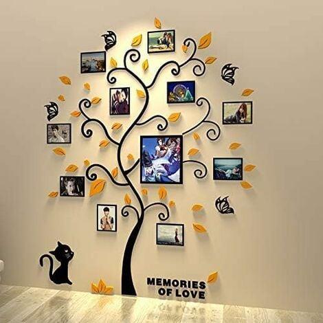 Stickers Autocollants Muraux Amovibles 3D en Acrylique Arbre avec des Branches Incurvées et des Cadres de Photo(Feulles noires)