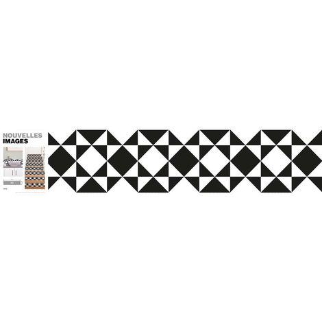 Stickers carreaux noir et blanc 98 x 19.5 cm (Lot de 3) - Noir