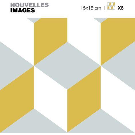 Stickers cube seamless jaune et gris 3D 15 x 15 cm (Lot de 6) - Ocre