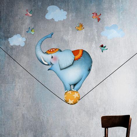 Stickers éléphant funambule 60x110 - Bleu