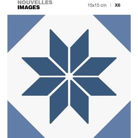Stickers étoile graphique bleue 15 x 15 cm (Lot de 6) - Bleu
