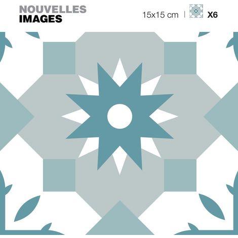 Stickers étoile orientale bleu vert et gris 15 x 15 cm (Lot de 6) - Bleu gris