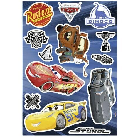 Stickers Fênêtre Disney Cars 3 Flash Mc Queen, Jackson Storm, Cruz Ramirez et Hook 31x31cm