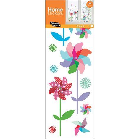 Stickers fenêtre en polypropylène moulins à vent colorés - Multicolore