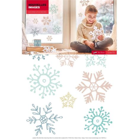 Stickers fenêtre étoiles des neiges - Bleu pailleté