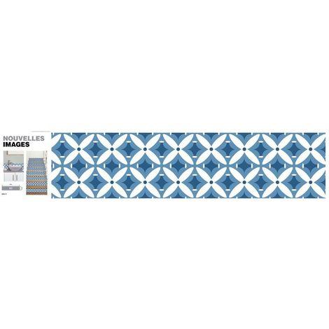 Stickers fleur géométrique bleu 98 x 19.5 cm (Lot de 3) - Bleu