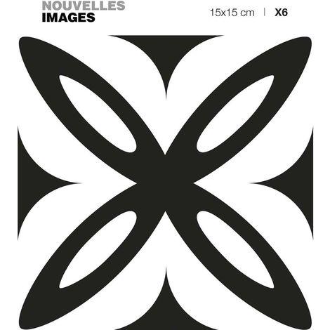 Stickers fleur géométrique noir et blanc 15 x 15 cm (Lot de 6) - Noir