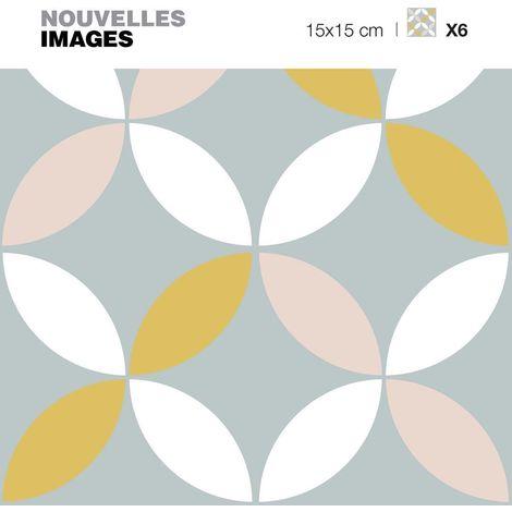 Stickers fleur grise jaune rose 15 x 15 cm (Lot de 6) - Gris