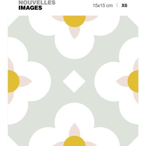 Stickers fleurs blanches et ocres 15 x 15 cm (Lot de 6) - Gris
