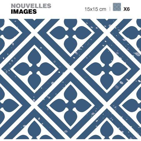 Stickers fleurs et losanges bleus 15 x 15 cm (Lot de 6) - Bleu