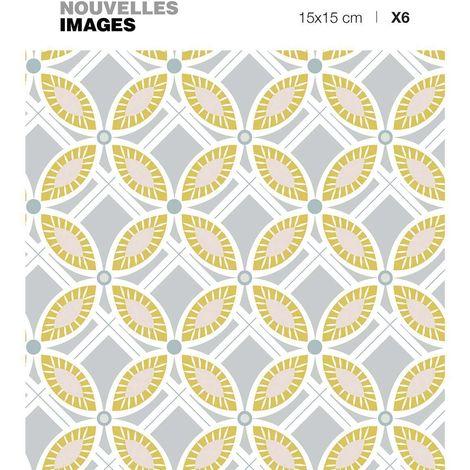 Stickers fleurs ocres et grises ( Lot de 6) - Ocre