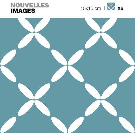 Stickers fleurs ovales sur fond bleu vert 15 x 15 cm (Lot de 6) - Bleu Vert