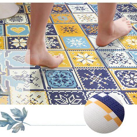 Stickers Kitchen floor tiles, floor tiles, waterproof, non-slip, wear-resistant, toilet bathroom renovation stickers decoration floor renovation stickers decoration floor stickers (color grid (60 CM wide * 1 meter long (2 pieces))