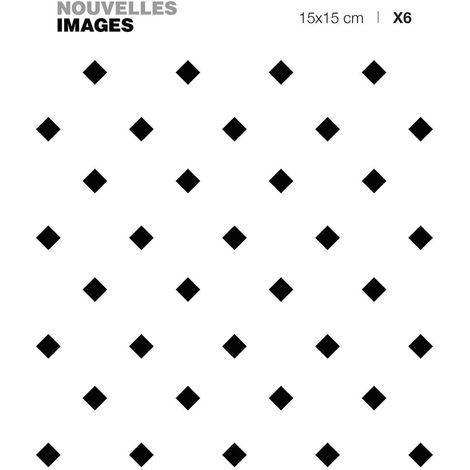 Stickers losanges minimalistes noir et blanc 15 x 15 cm (Lot de 6) - Blanc