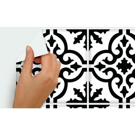 Stickers mosaïque blanc et noir