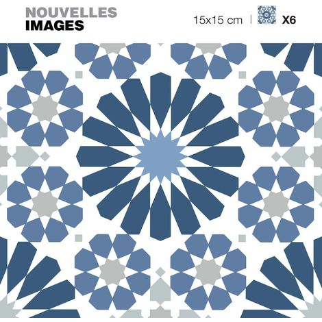 Stickers motif azulejos bleu et blanc 15 x 15 cm (Lot de 6) - Bleu