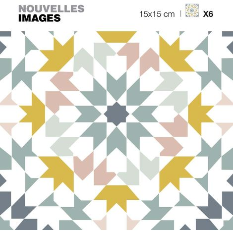 Stickers motif azulejos gris - jaune et rose 15 x 15 cm (Lot de 6) - Gris