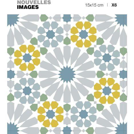 Stickers motif azulejos vert gris et ocre 15 x 15 cm (Lot de 6) - Vert