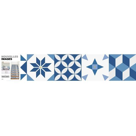 Stickers motif carreau de ciment bleu 98 x 19.5 cm (Lot de 3) - Bleu