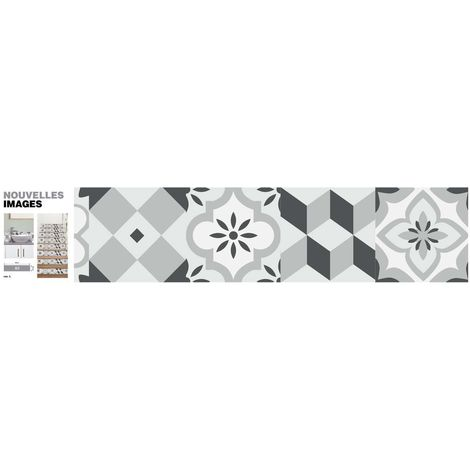 Stickers motif carreaux de ciment gris 98 x 19.5 cm (Lot de 3) - Gris