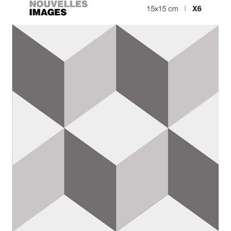 Stickers motif cubes seamless gris effet 3D 15 x 15 cm (Lot de 6) - Gris