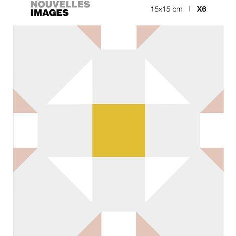 Stickers motif cubique gris - blanc - rose et ocre 15 x 15 cm (Lot de 6) - Gris pâle