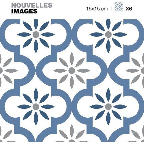 Stickers motif oriental bleu et gris 15 x 15 cm (Lot de 6) - Bleu