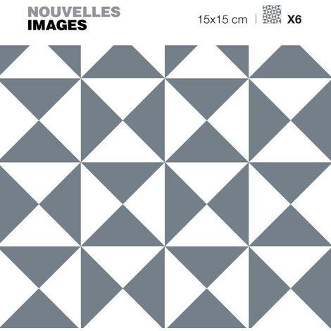 Stickers motif triangle illusion gris et blanc 15 x 15 cm (Lot de 6) - Gris