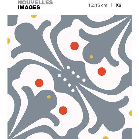 Stickers motif vieux Paris 15 x 15 cm (Lot de 6) - Gris