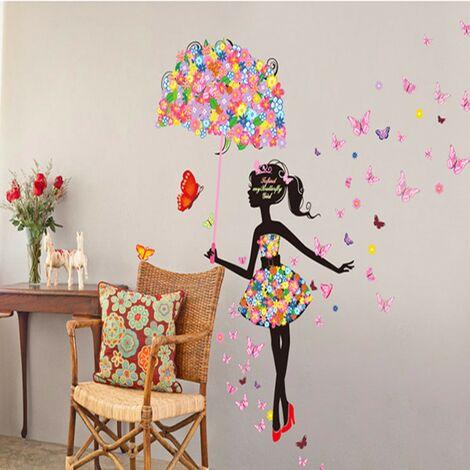 Stickers muraux amovibles fées fille parapluie papillon fleurs Art décalcomanie maison bricolage Mural enfants enfants faveur chambres décoration