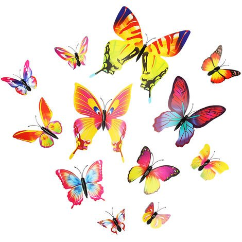 Stickers Muraux, Autocollant De Decalque De Mur De Forme De Papillon De Pvc, 12Pcs