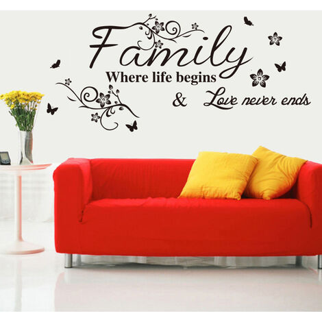 Stickers Muraux Citations Parole De Fleur De Vigne Mur Autocollant Citations Mur Bricolage Inspirational Famille Art Wall Sticker Peinture Murale Decor