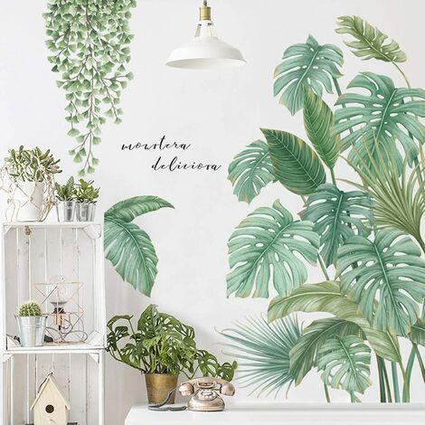 Stickers muraux de plantes tropicales bricolage, plantes vertes Nature arbre géant suspendus vigne feuilles fraîches autocollants muraux amovibles à peler et coller, peintures murales d'art pour la chambre de bébé au bureau à domicile