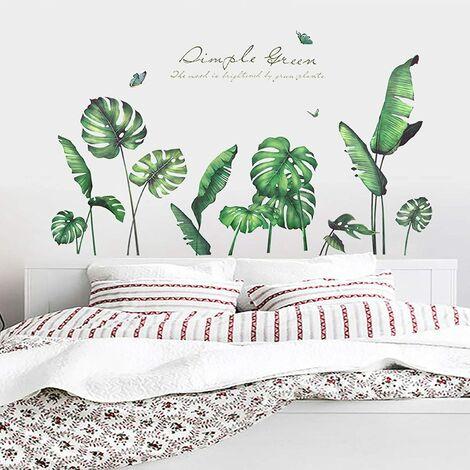 Stickers muraux feuilles tropicales vertes, autocollants muraux amovibles imperméables à l'eau de feuilles de palmier, décoration murale bricolage à peler et coller, peintures murales d'art pour la décoration du salon de la chambre