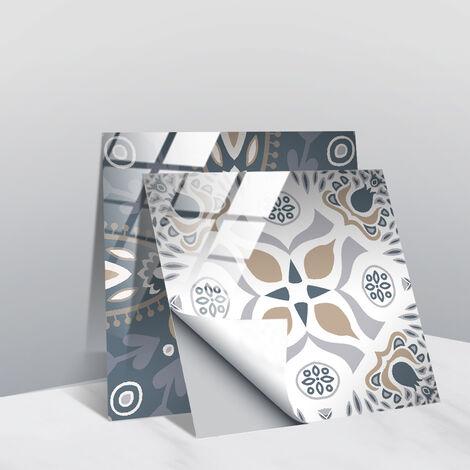 Stickers muraux gris et blancs autocollants de carreaux adhésifs carrés plats de 10x10 cm avec motifs de carrelage(20 pcs 15*15cm TS256)