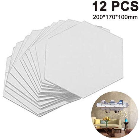 Stickers muraux hexagonaux, 12 pièces grand miroir acrylique amovible Stickers muraux pour la maison salon chambre décor, argent