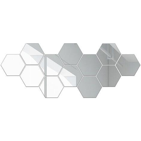 Stickers muraux miroir hexagonal, 10 * 8 cm, 1 mm d'epaisseur, 12 pieces, argent