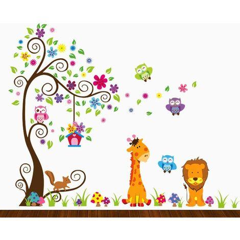 Stickers muraux muraux enfants, hibou coloré girafe lion arbre décoration unisexe décalcomanies pour chambre d'enfants, salle de jeux, crèche