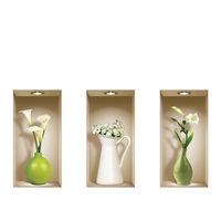 Stickers Muraux Muraux Vases 3D, 3Pcs